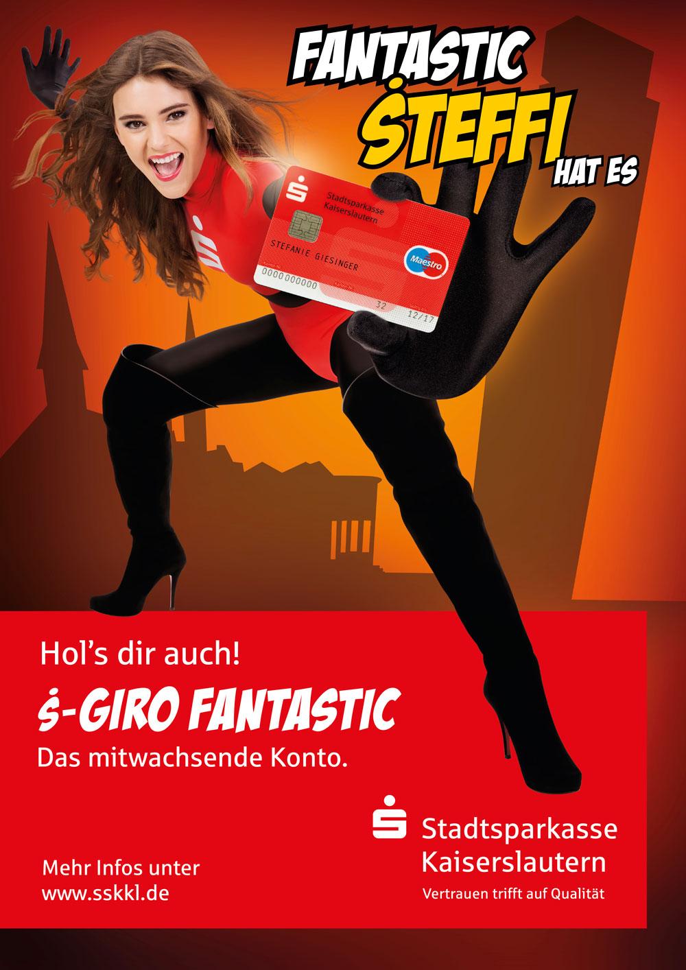 Stadtsparkasse Kaiserslautern Kampagne S-Giro fantastic 2015 Stefanie Giesinger